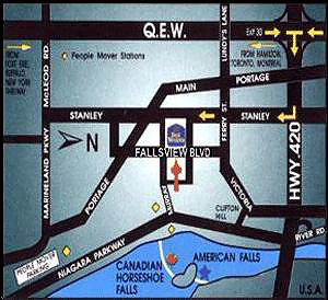 Map to Best Western Fallsview